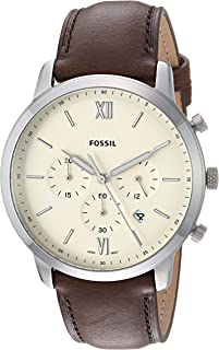 Fossil Men's 'Neutra Chrono' Quartz Stainless Steel and Leather Casual Watch, Color:Black (Model: FS5381)