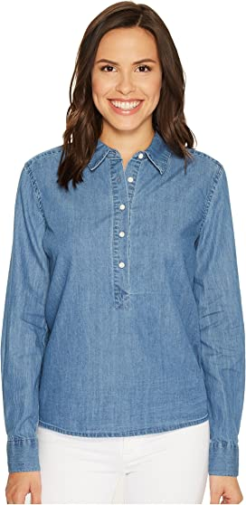 a2e343ea10d 7 For All Mankind Step Hem Denim Shirt in Skyway Authentic Blue at 6pm
