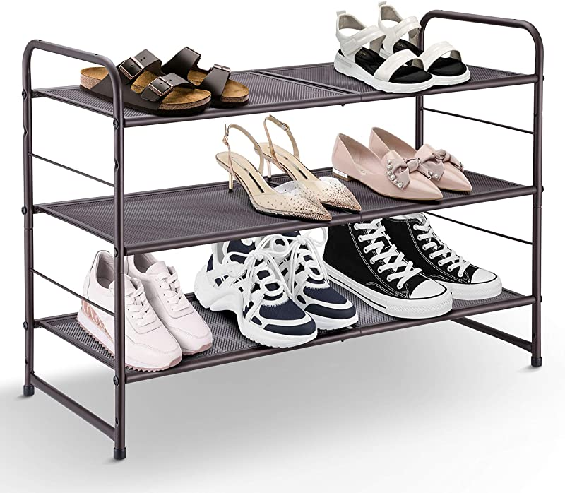 Simple Trending 3 Tier Stackable Shoe Rack Expandable Adjustable Shoe Shelf Storage Organizer Metal Mesh Bronze