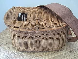 Antique Fishing Creel Wicker Fish Basket Vintage Creel Leather Strapped Basket Fishing Photo Prop Cabin Decor Vintage Decor Rustic Decor