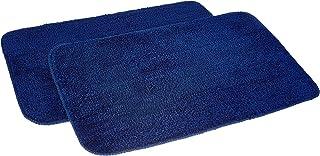 Amazon Brand - Solimo Anti-Slip Microfibre Bathmat, 50cm x 80cm - Pack of 2 (Blue)