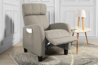 Casa Andrea Milano Living Room Slim Manual Recliner Chair (Beige)