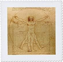 3dRose qs_155633_10 Vitruvian Man by Leonardo Da Vinci 1490-Fine Anatomical Art-Human Anatomy Pen and Ink Drawing-Quilt Square, 25 by 25-Inch