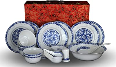28-piece Bone China Blue and White Dinnerware Set Service for 6 Rice Bowl Set