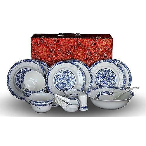 9261407c695b 28-piece Bone China Blue and White Dinnerware Set Service for 6 Rice Bowl  Set