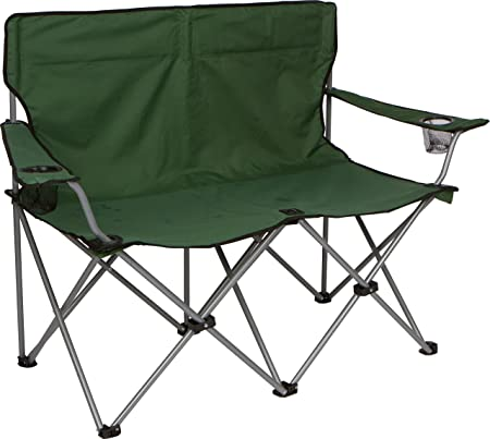 """Amazon.com : Trademark Innovations Loveseat Style Double Camp Chair with  Steel Frame, 31.5"""", Army Green : Sports & Outdoors"""