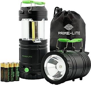فانوس کمپینگ Prime-lite 2 Pack Camped with Led - چراغ هایی که باتری کار می کنند - فانوس Led - چراغ قوه برای موارد اضطراری - لوازم طوفان برای خانه - مورد استفاده برای ماهیگیری ، پیاده روی