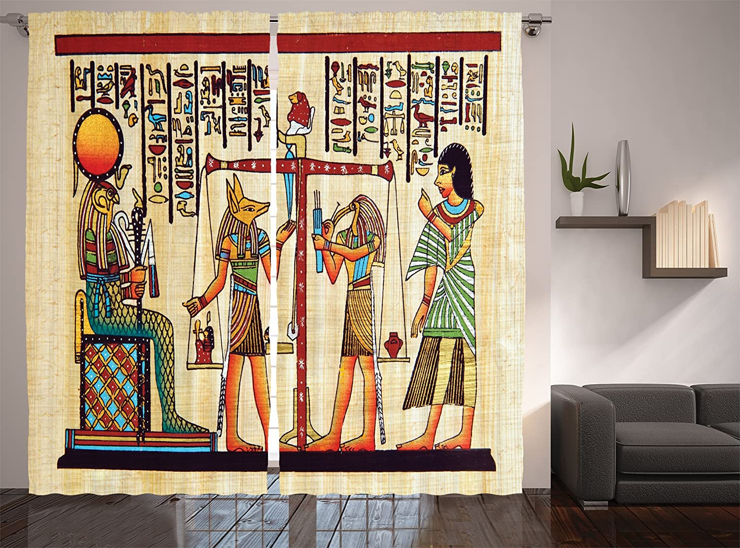 Ambesonne Egyptian Print Curtains, Papyrus Manuscript and Historical Scenery Picture, Living Room Bedroom Window Drapes 2 Panel Set, 108