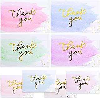 Gold And Watercolor Thank You Cards for Thank You Notes! Bulk Set of 48 Blank Cards with Envelopes for Baby Shower Note Ca...
