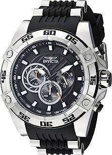 Invicta Men's Speedway Stainless Steel Quartz Watch with Silicone Strap, Black, 26.4 (Model: 25505)
