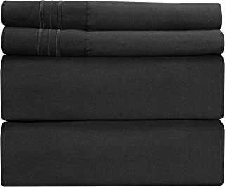 Full Size Sheet Set - 4 Piece Set - Hotel Luxury Bed Sheets - Extra Soft - Deep Pockets - Easy Fit - Breathable & Cooling Sheets - Wrinkle Free - Comfy - Black Bed Sheets - Fulls Sheets – 4 PC