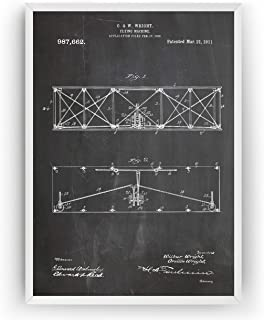 Wright Brothers Patent Prints - Flying Machine 1911 - Vintage Art Posters Pilot Gifts For Men Women Aviation Blueprint - Frame Not Included