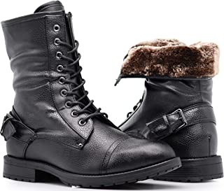 SH05 Mens Military Combat Mid Calf Ankle High Roll Down Top Lace Up Fur Lining Winter Snow Boots