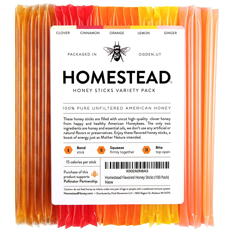 Homestead Flavored Honey Sticks, 5 Flavors Include Clover, Cinnamon, Orange, Lemon, Ginger, Pure American Honey Stix with Essential Oils for Taste (100 Pack)