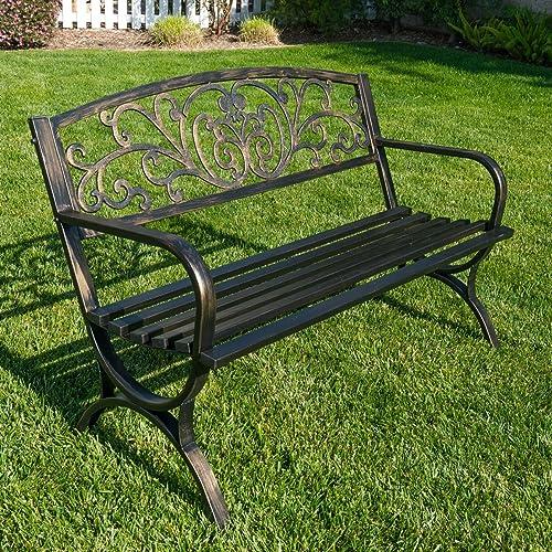 "popular BELLEZE popular outlet online sale 50"" Garden Backyard Bench, Metal, Bronze online sale"