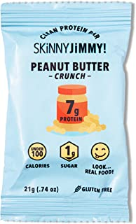 SKINNY JiMMYBAR! Clean Protein Bars, Peanut Butter Crunch, Low Calorie, Low Sugar, Gluten Free, Energy Boost, 0.74 ounces, 24 Count