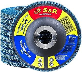 S&R Fläktslipskivor set 10 st;stål + ädelst. 115x22,23 mm, 11FZ (Z/O+ceramic) typ 29, P60