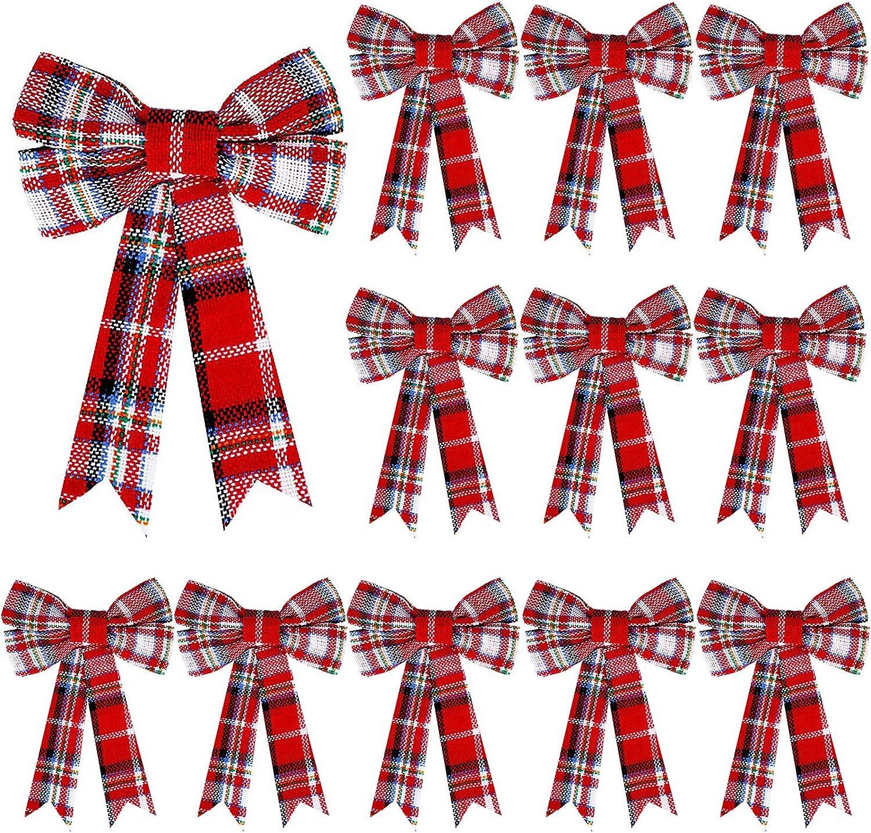 WILLBOND 12 Pieces Christmas Plaid Bow Black Red and White Plaid
