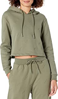 GUESS Women's Active Long Sleeve Hooded Crop Sweatshirt