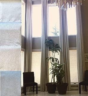 Ikiriska 100% Blackout Extra Long Linen Curtains. Off White, Beige Cream Gray Custom Made 12-24 feet Length 2 Story Great Room (Gray, 144