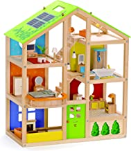 All Seasons Kids Wooden Dollhouse by Hape | Award Winning 3 Story Dolls House Toy with Furniture, Accessories, Movable Sta...
