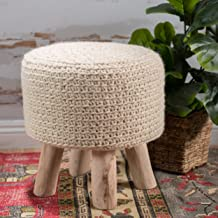 Christopher Knight Home Living Mosiac Hand Knit Wool Fabric Stool (Ivory)