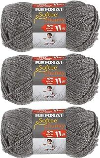 Bernat Softee Chunky 3-Pack Yarn, 2.8oz, Super Bulky 6 Gauge -True Grey - Machine Wash & Dry