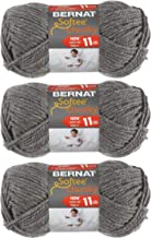 Bernat Softee Chunky 3-Pack Yarn - (6) Gauge 100% Acrylic - 2.8 oz -True Grey - Machine Wash & Dry