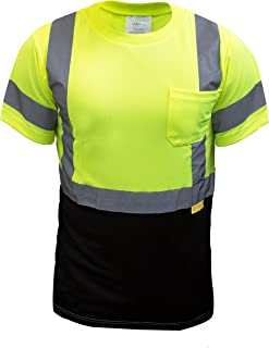 NY BFS8512 High-Visibility Class 3 T Shirt with Moisture Wicking Mesh Birdseye, Black Bottom (Extra Large, Green)