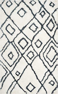 Safavieh Toronto Shag Collection SGT727K Handmade Moroccan 1.25-inch Thick Area Rug, 5' x 8', Ivory / Blue