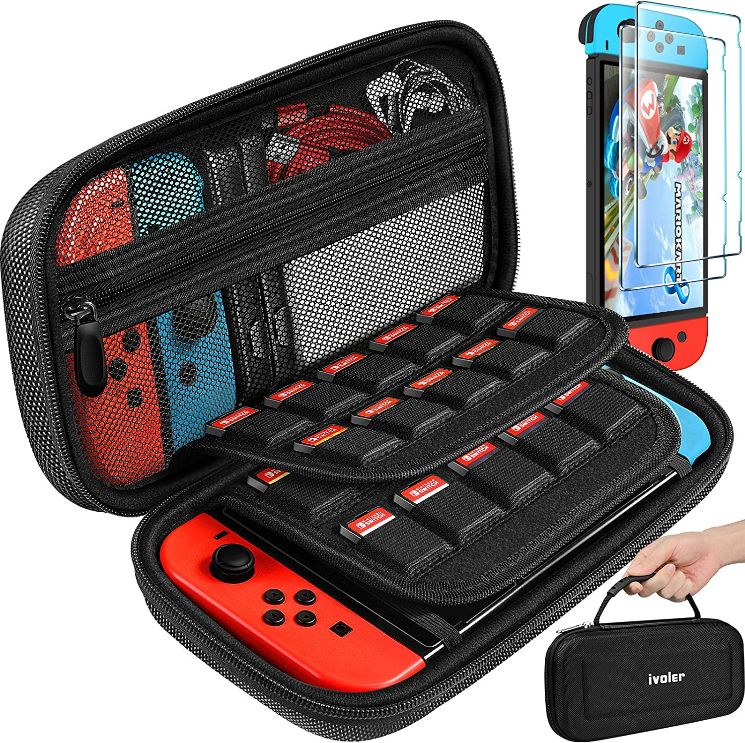 Carrying Case for Nintendo Switch with 2 Pack Screen Protector, iVoler Protective Portable Hard Shell Pouch Carrying Travel Game Bag for Nintendo Switch Console Accessories Holds 20 Game Cartridge