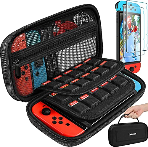 Carrying Case for Nintendo Switch Case with 2 Pack Screen Protector, iVoler Protective Portable Hard Shell Pouch Carr...