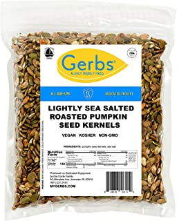 GERBS Lightly Sea Salted Pumpkin Seed Kernels, 16 ounce Bag, Roasted, Top 14 Food Allergen Free, Non GMO, Vegan, Keto, Paleo Friendly