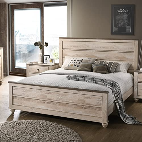 Roundhill Furniture Imerland Contemporary White Wash Finish Panel King Bed
