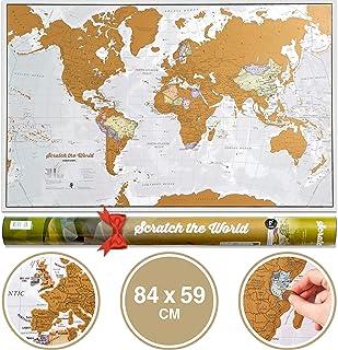 Póster del mapa mundi de rascar con tubo de regalo -