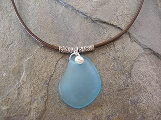 Aqua Sea Glass Leather Pearl Sterling Silver Necklace Boho Artisan Jewelry