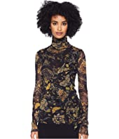 FUZZI - Long Sleeve T-Neck Brocade Top