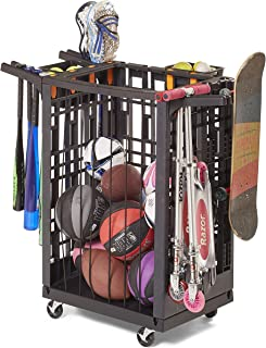 Lock & Roll Organizer Garage Storage System and Sports Equipment Organizer, Black