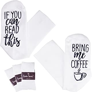 Tickle Socks (3 Pack) - If You Can Read This Bring Me A Glass Of Wine. Available in Coffee - Full Length Bamboo Crew Socks