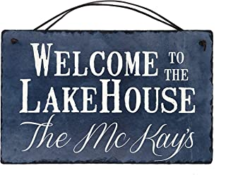 Sassy Squirrel Beautifully Handcrafted and Customizable Slate Home Address Plaque Sign Welcome to The Lake House (16