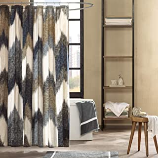 Ink+Ivy II70-541 Alpine Cotton Printed Shower Curtain 72x72 Navy, Blue, Taupe, Charcoal, Ivory, Dusty