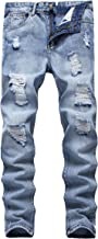 FEESON Men's Ripped Slim Fit Straight Denim Jeans Vintage Style with Broken Holes 05 W32