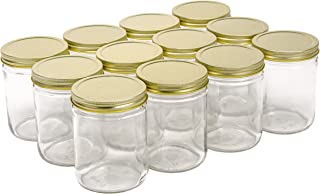 North Mountain Supply 16 Ounce Glass Wide Mouth Straight-Sided Canning Jars - with Gold Metal Lids - Case of 12