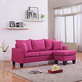 DIVANO ROMA FURNITURE Modern Linen Fabric Small Space Sectional Sofa with Reversible Chaise (Rose Red)