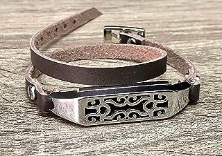 Silver Jewelry Dark Brown Leather Fitbit Flex 2 Bracelet Handmade Genuine Double Wrap Adjustable Strap Fitbit Flex 2 Band Unique Design Holder Fitbit Flex 2 Tracker Women Fashion Wristband