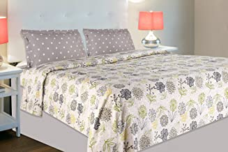 haus & kinder Tropical Floral Bloom, 100% Cotton Double Bedsheet with 2 Pillow Covers, 186 TC (Green & Grey)