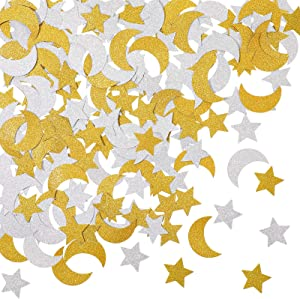 400 Pieces Glitter Star and Moon Paper Confetti Double Side Table Paper Confetti Sequin for Wedding Birthday Baby Shower Moon and Star Party Ramadan Mubarak Decor (Gold, Silver)