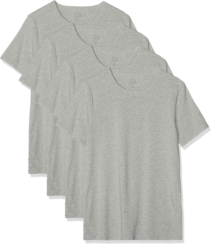 MERAKI Camiseta Interior con Cuello Redondo Hombre, Pack de 4