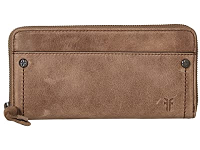 Frye Demi Zip Wallet (Grey Smooth Pull Up) Wallet Handbags