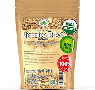 Licorice Root Tea 1LB (16Oz) 100% Certified Organic Licorice Root Cut and Sifted (Glycyrrhiza glabra), in 1 lbs. Bulk Rese...